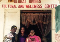 People Outside of the Global Bridges Cultural and Wellness Center